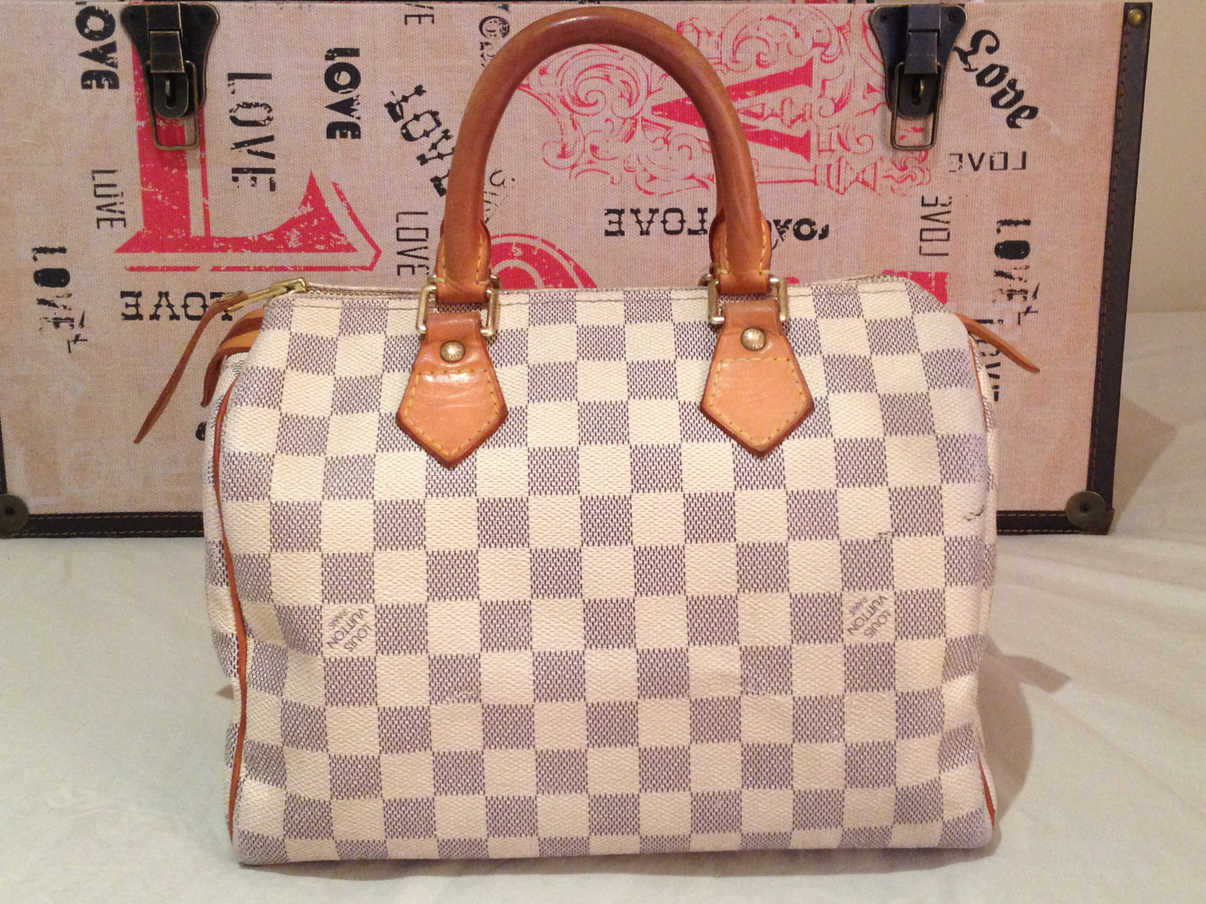 88ea46dbb223 FS000414-1 LV Speedy 25 Damier Azur. SOLD – Authentic LOUIS VUITTON Speedy  25 Damier Azur ...